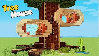 Minecraft: How To Build A 4 Players Tree House Tutorial (Easy)