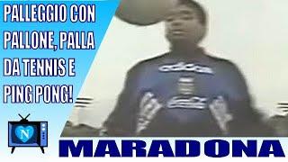 palleggio con pallone, palla da tennis e pallina da ping pong
