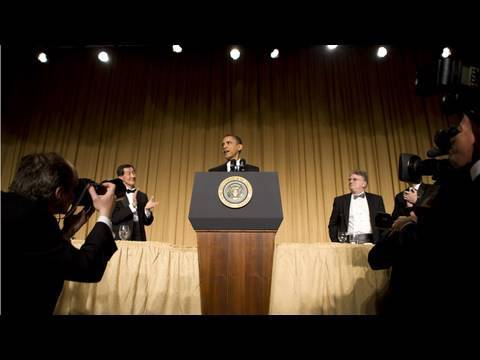 President Obama and Jay Leno trade jokes at the 2010 White House Correspondents' Association Dinner in Washington, D.C. (Leno's visual aids were unfortunatel...