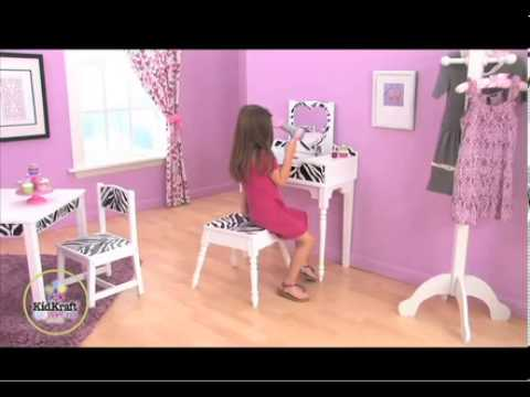 coiffeuse et tabouret fun funky mobilier kidkraft pour. Black Bedroom Furniture Sets. Home Design Ideas