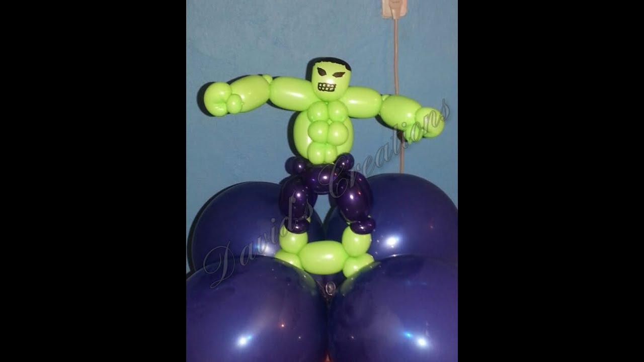 Como hacer a hulk con globos decoraciones con globos - Hacer munecos con globos ...