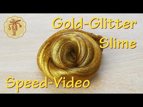 Speed-Video: Gold-Glitter-Slime - ohne Waschmittel und ohne Boraxpulver