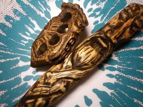 Бита из дерева без токарки Резная дубинка Резьба Wood Carving