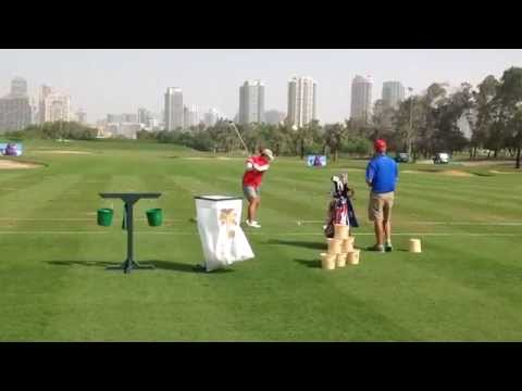 Chinese Golfer Shanshan Feng warming up at the 2014 Omega Dubai Ladies Masters