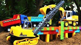 Build a bridge of crane dump truck Grader and Road Roller | สร้างสะพาน รถเครน รถแมคโคร