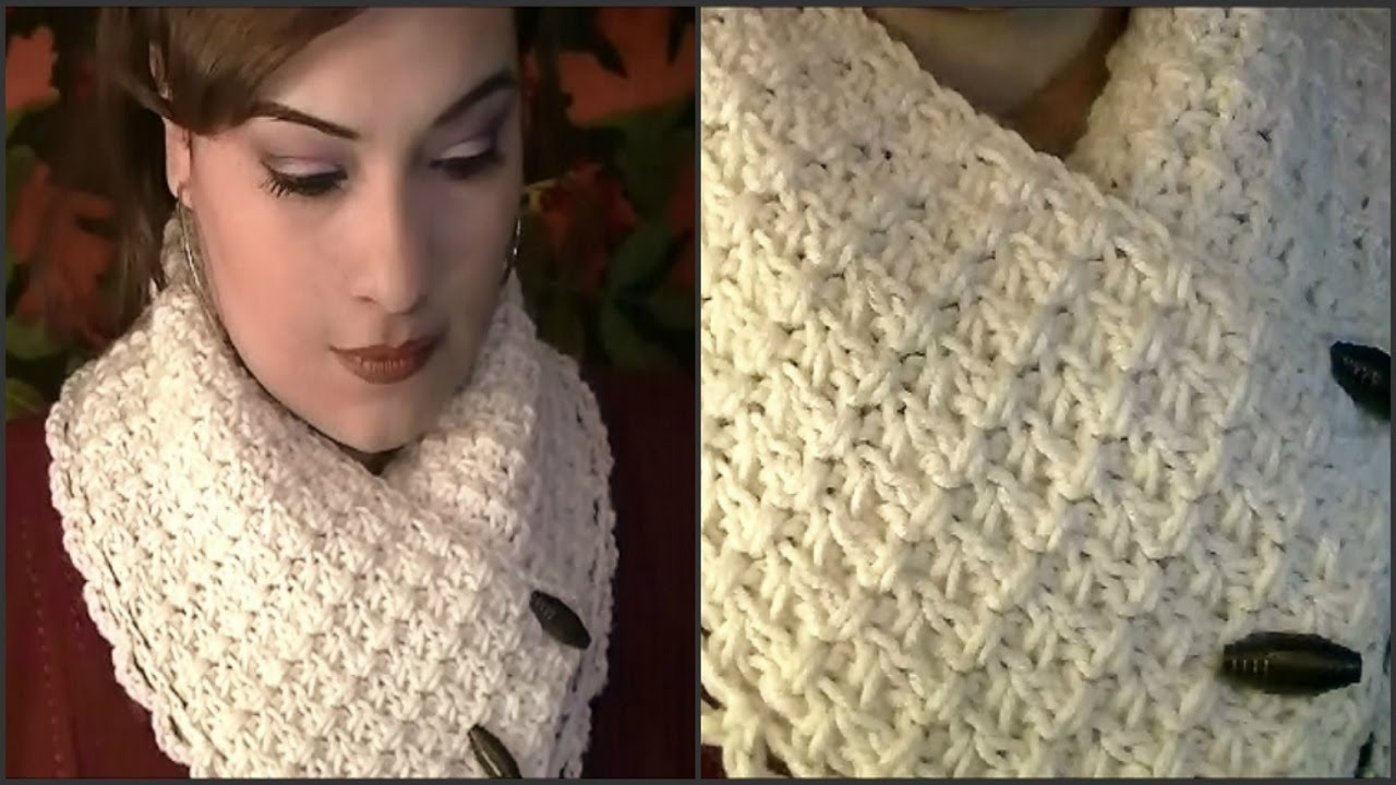 Crochet Youtube : Como Tejer Una Bufanda De Cuello Corto ~ Tutorial - YouTube