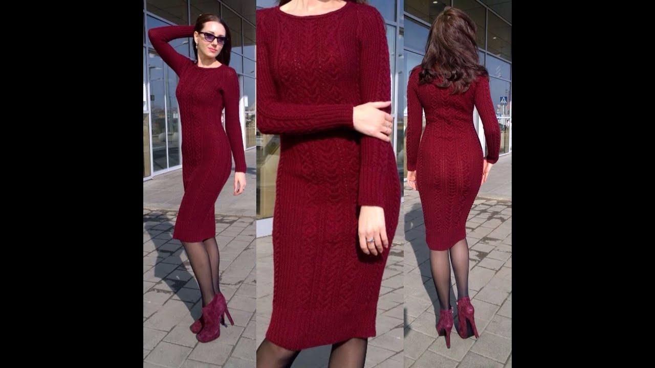Вязаное платье для женщин спицами марсала схема для вязания веледа 12