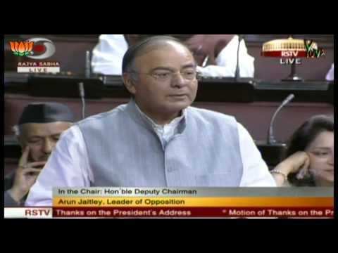 Shri Arun Jaitley speech in Rajya Sabha during Motion of Thanks on the President's Address