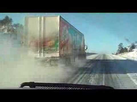 Crazy Trucker Passing us uphill in the snow
