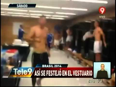 Así festejó Argentina en el vestuario su paso a semis