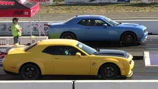 1320 Scat Pack R/T vs Demon and vs Mustang GT - drag race