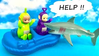 Teletubbies and swimming on a pontoon - Shark attack !!
