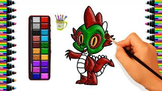 How to draw a small dinosaur for Children   Drawing and coloring for Kids   bé yêu