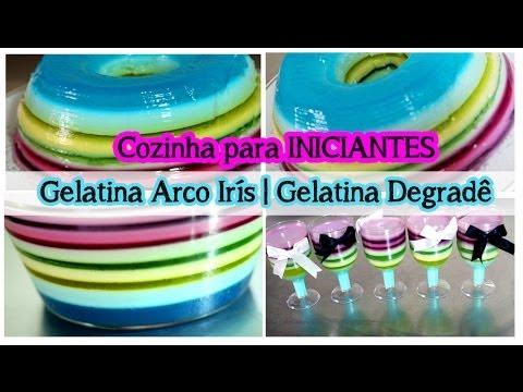 Gelatina Colorida  Gelatina Degradê  Gelatina Arco Irís (Fácil): Culinária p