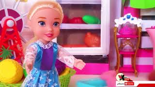 Learn colors with doll prepare foods for cook by khmer kid toy