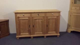 Large pine 3 door 3 drawer cupboard - Pinefinders Old pine Furniture Warehouse