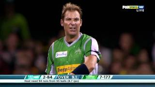 Warnie commentating his wicket of BBL Match 5 against Brisbane Heat