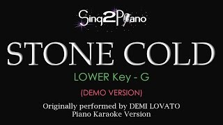 Stone Cold Lower Key Piano Karaoke Demo Demi Lovato