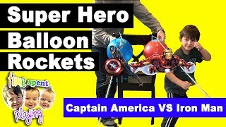 Super Hero Balloon Rocket Races with Iron Man and Captain America | Thinking Thursdays (Ep. 2)