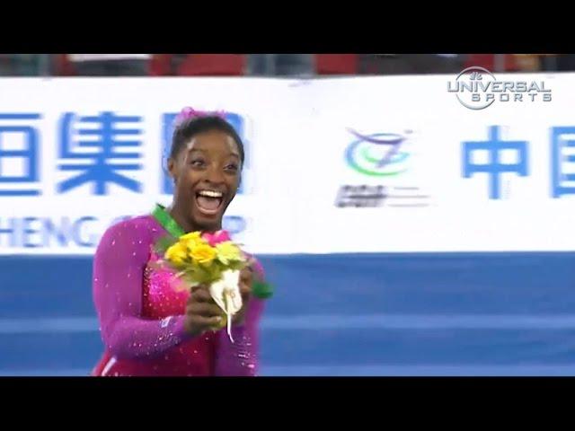 Simone Biles runs from bee on podium - Universal Sports