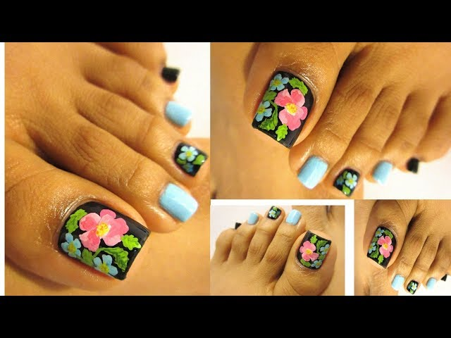 Bello diseño floral pedicure paso a paso/Floral design pedicure step by step