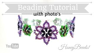 Easy Beaded Flower Bracelet Beading Tutorial by HoneyBeads1 (Photo tutorial with twin beads)