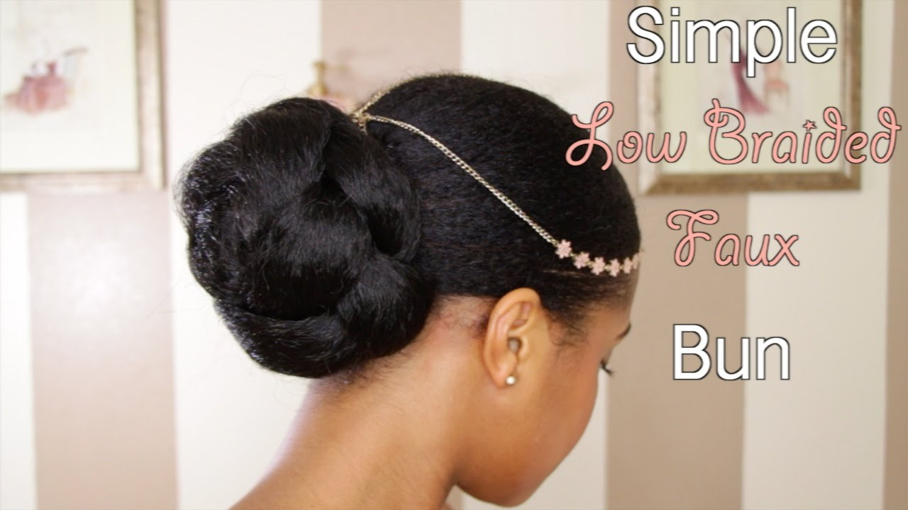 Simple Low Faux Bun On Natural Hair Youtube