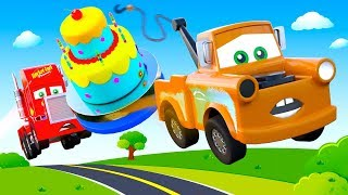 Cartoon for Kids with Mcqueen Cars Friends Tow Truck, Mack Truck Cars: Birthday Big Cake for McQueen