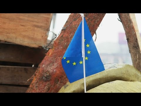 European Union flag on protesters' barricade in Kiev Ukraine. Stock Footage