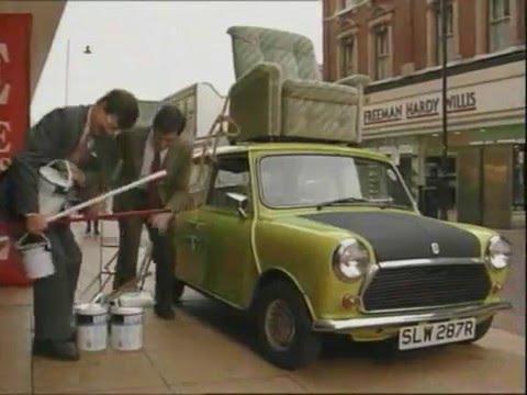 Mr. Bean drive a car