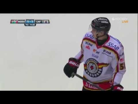Donald Brashear's first shift in SHL for MODO Hockey (Modo - Luleå) 29/11-14