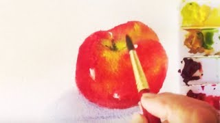 Red Apple watercolor tutorial, how to paint an Apple under three minutes