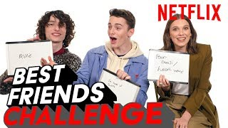 Stranger Things 3 Best Friends Challenge | Millie, Finn & Noah | Netflix