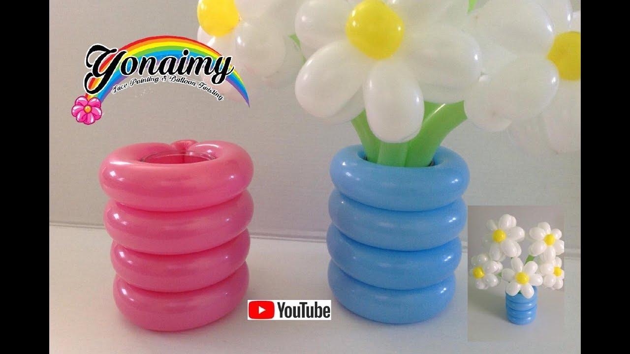 Florero o base con globos para nuestros ramos youtube - Hacer decoraciones con globos ...