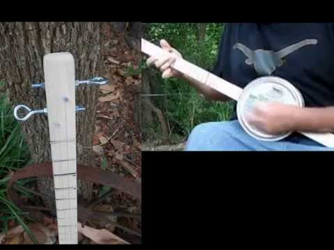 2 String Canjo Homemade Cookie Tin Banjo With Eye Bolt