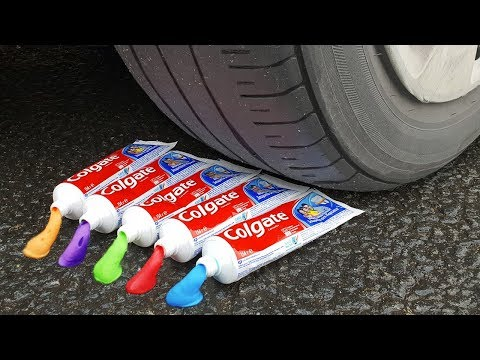 EXPERIMENT CAR VS RAINBOW TOOTHPASTE