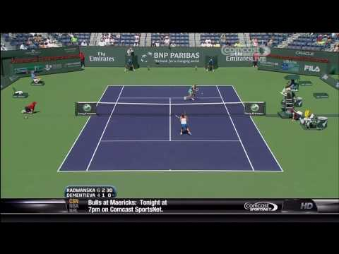 Radwanska vs. Dementieva - BNP Paribas Open - Amazing 30 shot rally [HD]