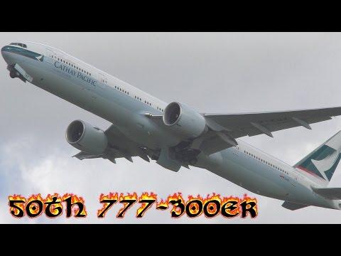 Cathay Pacific 777-300ER Close up Slow motion Take-off B-KQX CX358 to Hong Kong
