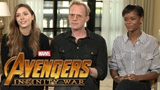 'Avengers: Infinity War': Elizabeth Olsen, Paul Bettany and Letitia Wright (FULL INTERVIEW)