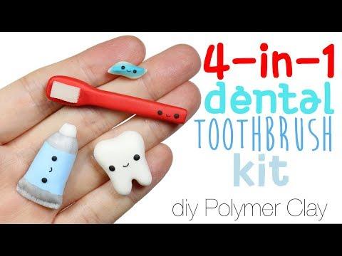 How to DIY Cute/Kawaii Dental Toothbrush Kit Polymer Clay Tutorial