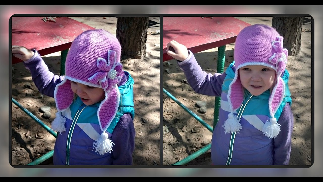 Вязание осенних шапочек для девочек 60