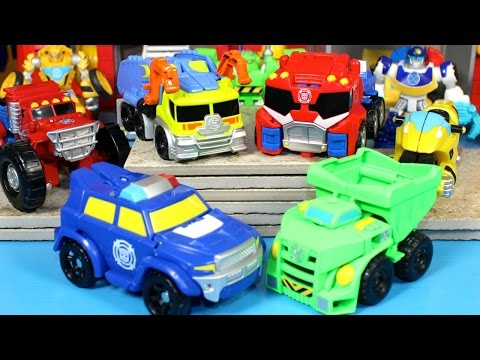 New 2015 Transformers Rescue Bots Salvage Optimus Chase Boulder video
