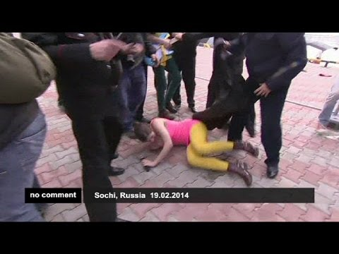 Pussy Riot attacked by Cossack militia at Sochi Olympics - no comment