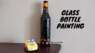 How to Paint Wine Bottles | Glass Bottle Painting | Wine Bottle Painting | Home Decor Ideas