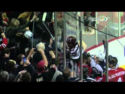 Board glass knocked out, Pardy gets helmet ripped off Winnipeg Jets vs Chicago Blackhawks 11/6/13
