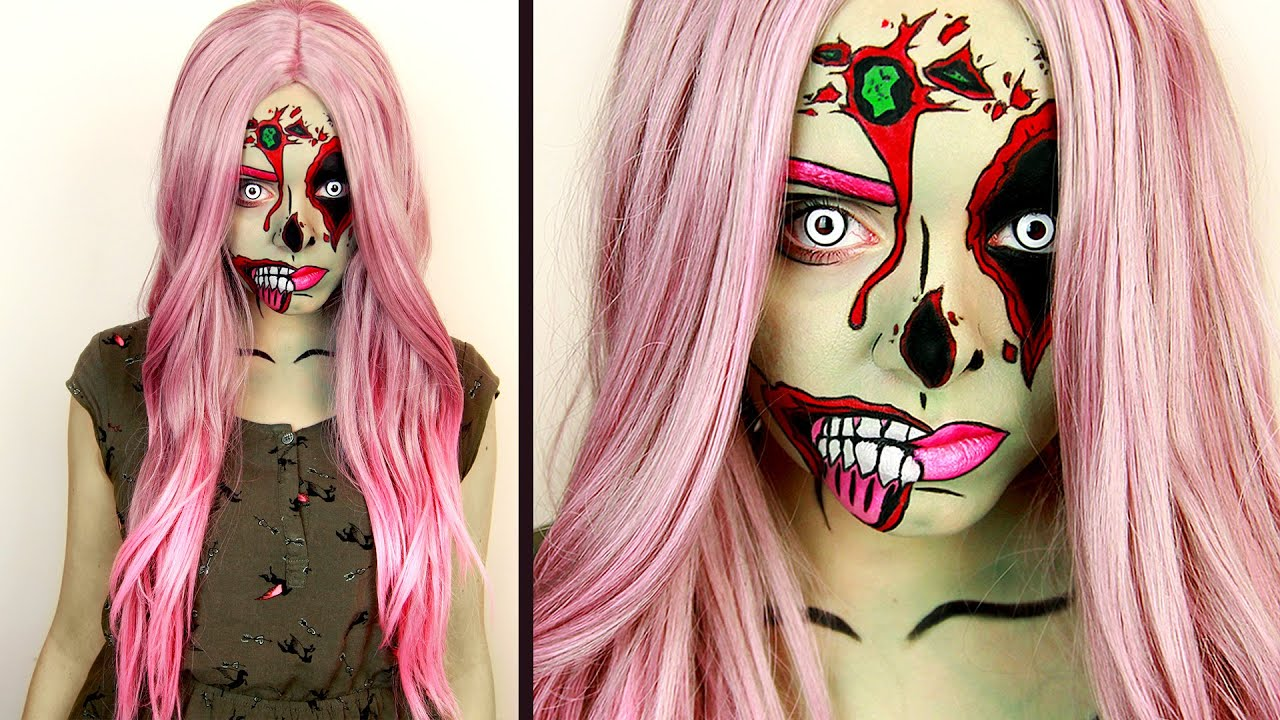 comic pop art zombie makeup tutorial youtube. Black Bedroom Furniture Sets. Home Design Ideas