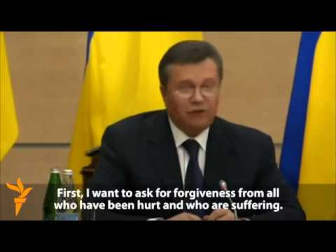 Ukraine Yanukovych, breaking the handle, asks forgiveness kiev maidan protesters Tymoshenko You