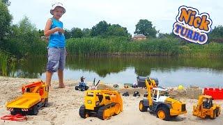 Песочный замок Крутой съезд и ТЕСТ ДРАЙВ для игрушечных машинок. Машинки летят в воду. Toy Ник Турбо