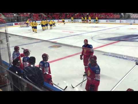 Разминка сборной России перед игрой со шведами на КПК. Радулов шутил со Знарком