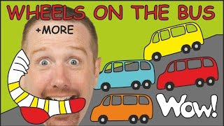 Wheels on the Bus | Playground for Kids + MORE Funny Stories from Steve and Maggie | Wow English TV